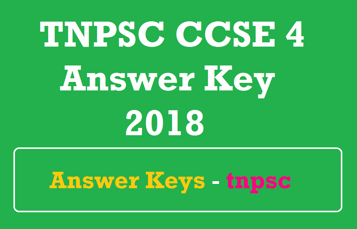 TNPSC CCSE 4 Answer Key 2018