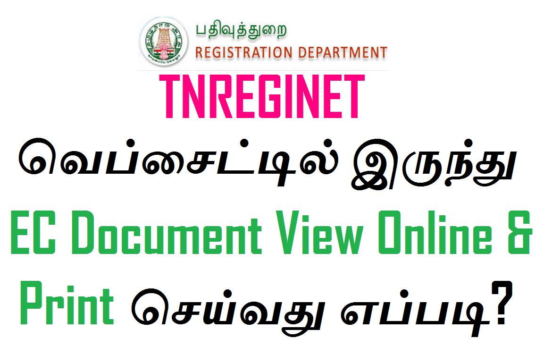 TNREGINET வெப்சைட்டில் இருந்து EC Document View Online & Print செய்வது எப்படி