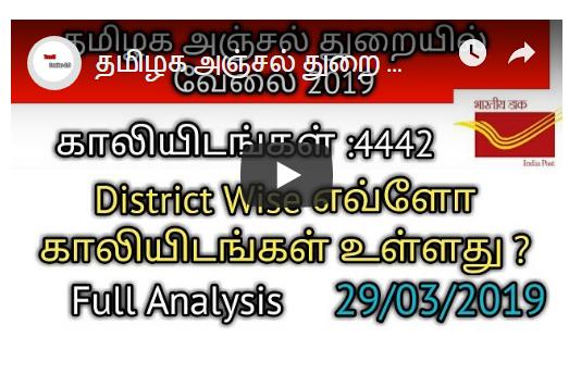 தமிழக அஞ்சல் துறை வேலை 4442 District Wise எவ்ளோ காலியிடங்கள் உள்ளது