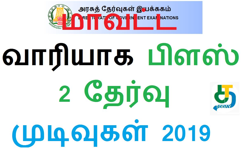 மாவட்ட வாரியாக பிளஸ் 2 தேர்வு முடிவுகள் 2019