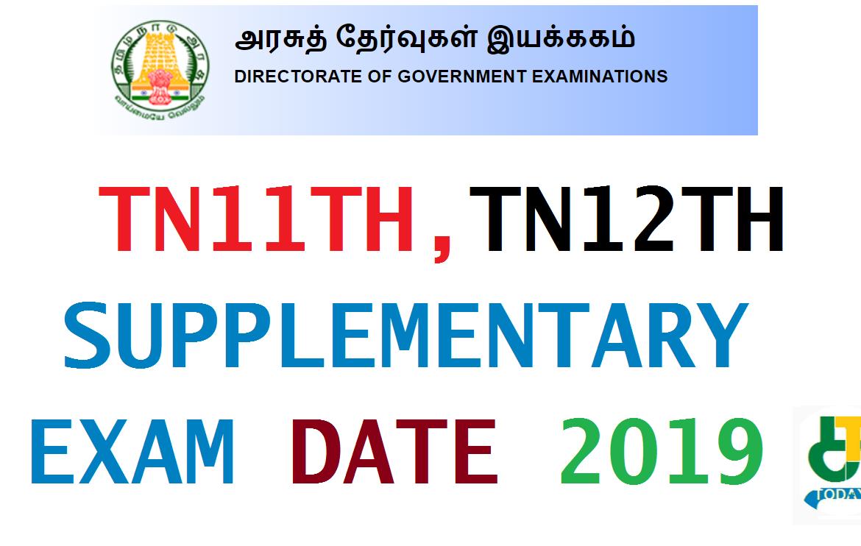 TN11TH, TN12TH SUPPLEMENTARY EXAM DATE 2019