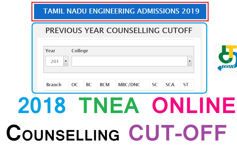 2018 YEAR TNEA ONLINE COUNSELLING CUTOFF