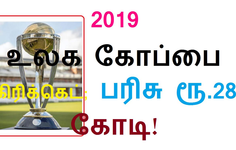 2019 உலக கோப்பை கிரிக்கெட்; பரிசு ரூ.28 கோடி