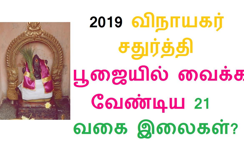2019 விநாயகர் சதுர்த்தி பூஜையில் வைக்க வேண்டிய 21 வகை இலைகள்