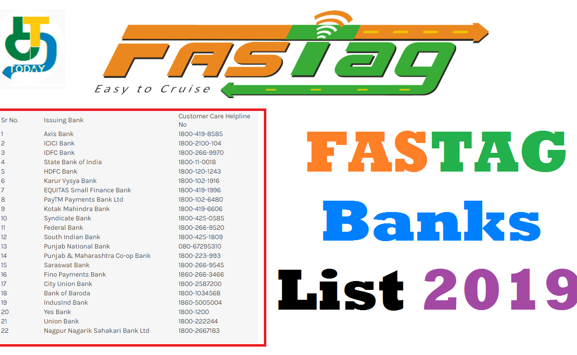 List of banks that will issue a FASTag