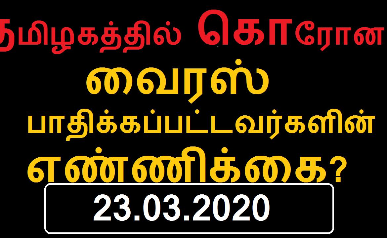 தமிழகத்தில் தற்போது கொரோனா வைரஸால் பாதிக்கப்பட்டவர்களின் எண்ணிக்கை - 23.03.2020