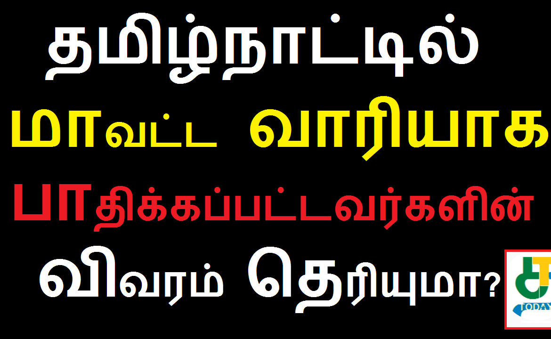 தமிழ்நாட்டில் மாவட்ட வாரியாக பாதிக்கப்பட்டவர்களின் விவரம்